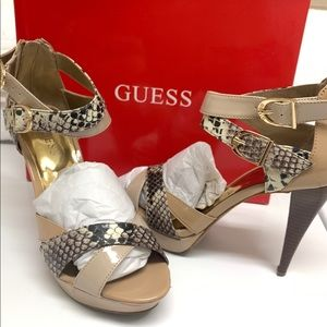 GUESS Natural/ Snakeskin Open Toe Heels Shoes 7M